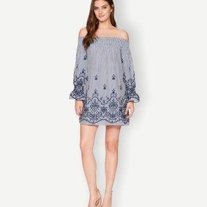 BISHOP + YOUNG Sz S NWT Blue Bare Shoulder Dress